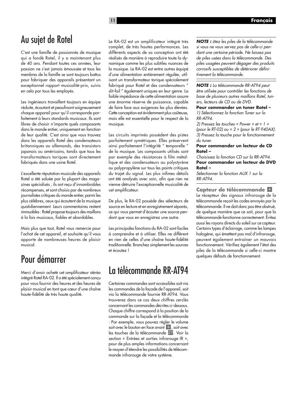 Au sujet de rotel, Pour démarrer, La télécommande rr-at94   ROTEL RA