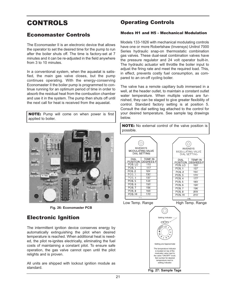 controls, economaster controls, electronic ignition | raypak raytherm  133-4001 user manual | page 21 / 44