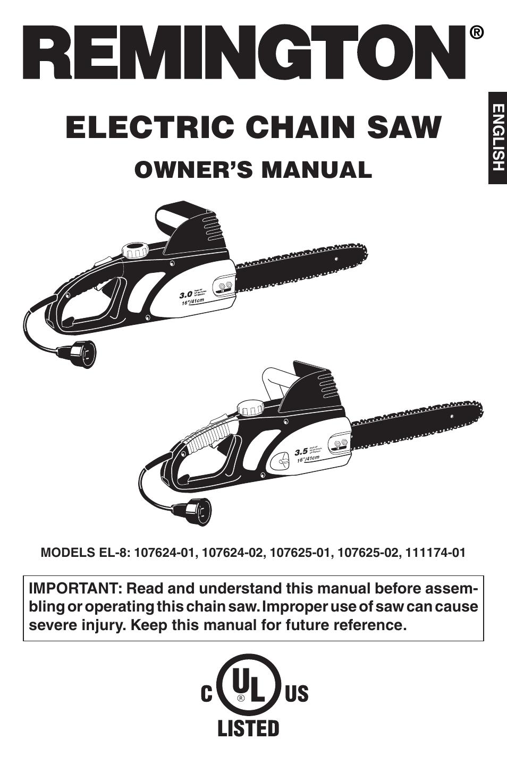 remington el 8 107624 01 user manual 64 pages also for el 8 rh manualsdir com remington chain saw manuels remington chainsaw manuals