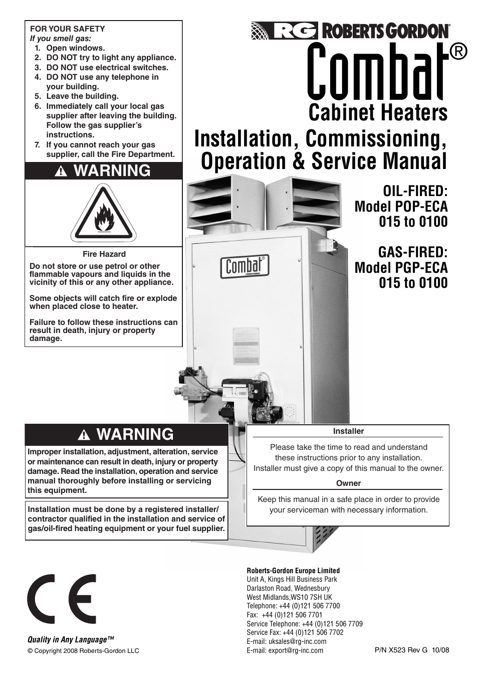 roberts gorden combat cabinet heaters pop eca pgp eca 015 to 0100 rh manualsdir com sun storedge 3000 family installation operation and service manual Gutter Installation Guide