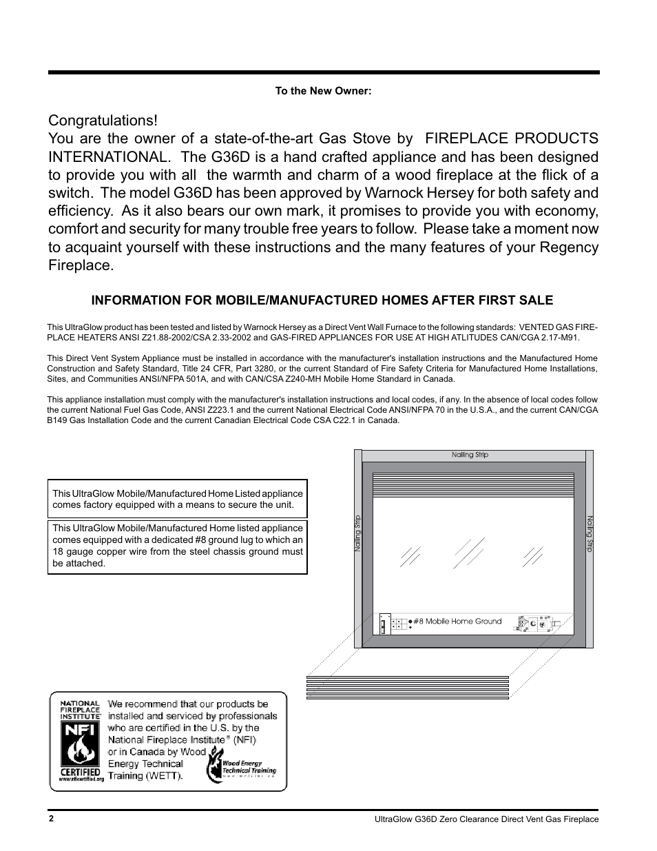 Regency Ultragloow G36d Lp Propane User Manual Page 2 40 Also Electric Refrigerator Wiring Schematic For Ng Natural Gas