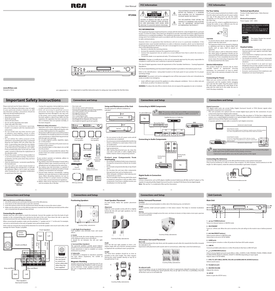 rca rt2906 user manual 2 pages rh manualsdir com RCA Home Theater System RCA Model RT2906