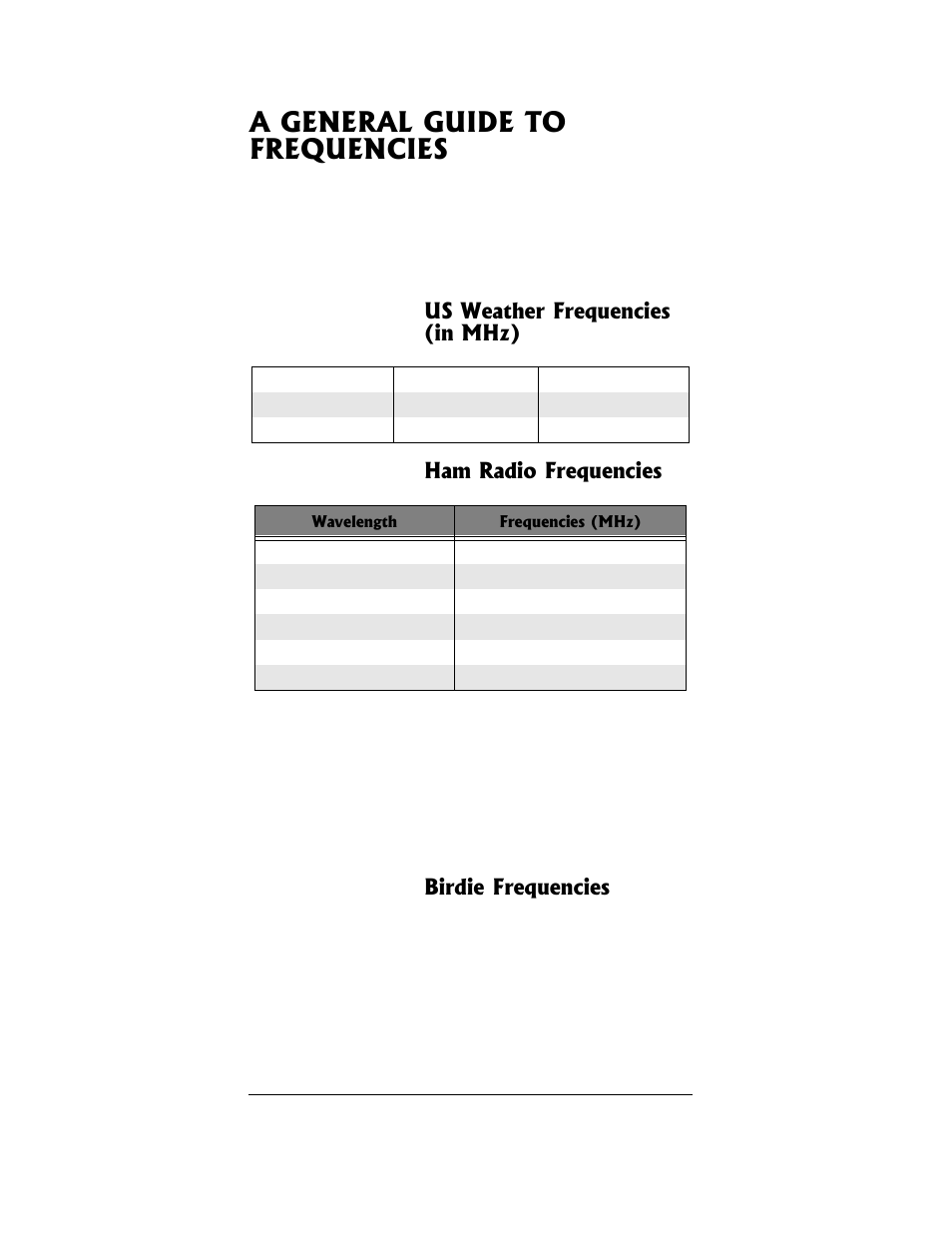 A general guide to frequencies, Birdie frequencies | Radio