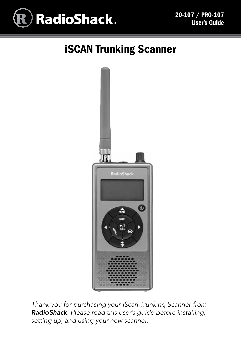 Radio Shack iScan PRO-107 User Manual | 33 pages | Also for: iScan