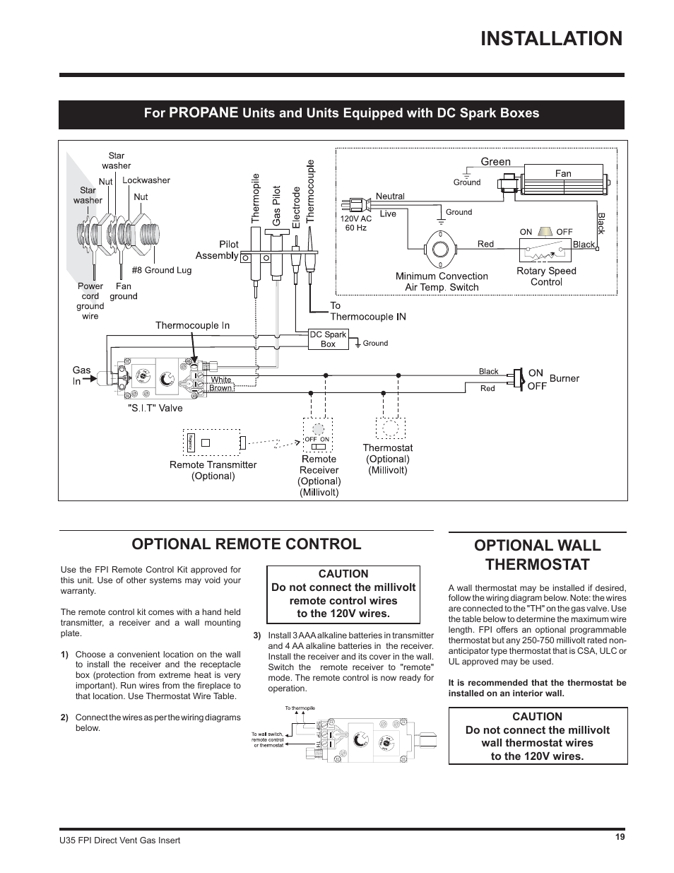Installation Optional Remote Control Wall Thermostat Wiring The Switches That Select Fan Speed See Diagram Below Propane Regency Gas Insert U35 Ng1 User Manual Page 19 32
