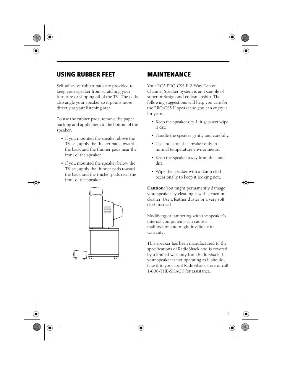 Using rubber feet, Maintenance | RCA PRO-CS5II User Manual | Page 3 / 4