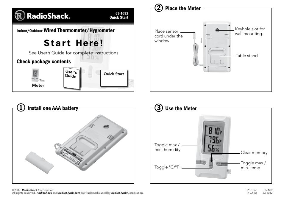 Radio Shack 63 1032 User Manual 1 Page