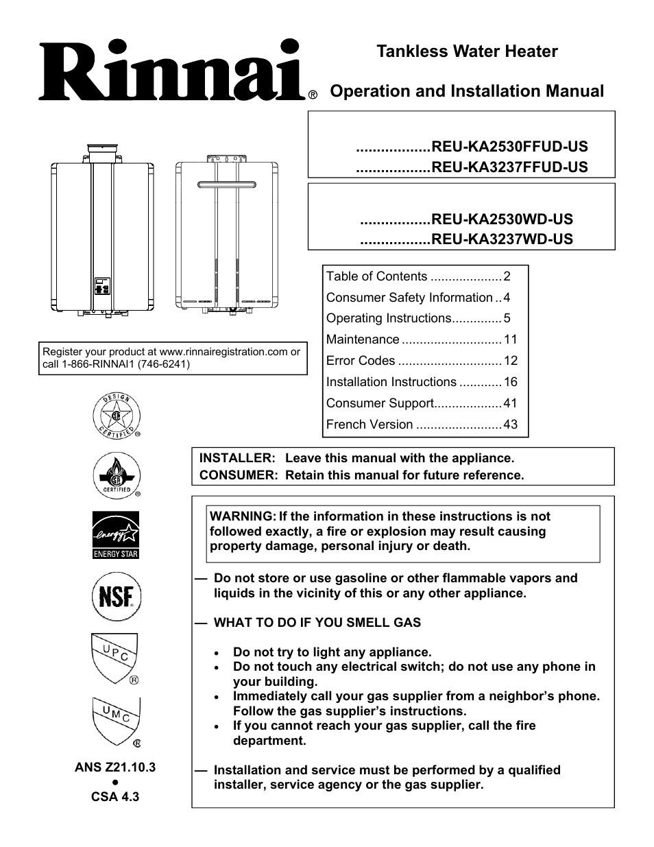 Rinnai Rc98i User Manual 64 Pages Also For Rc98e