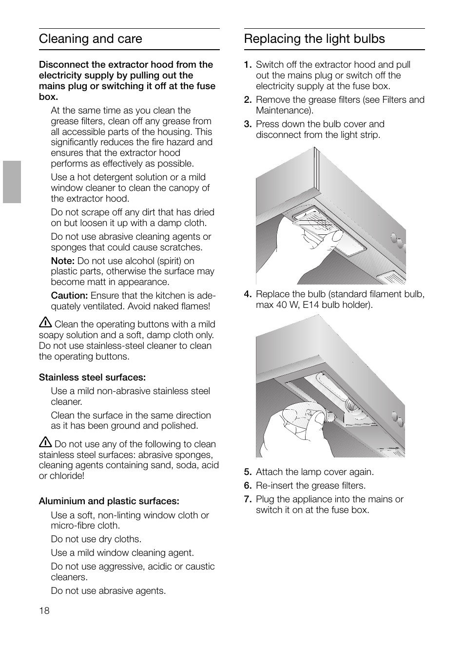 Replacing The Light Bulbs Cleaning And Care Siemens Lc 47650 User Fuse Box Manual Page 18 124