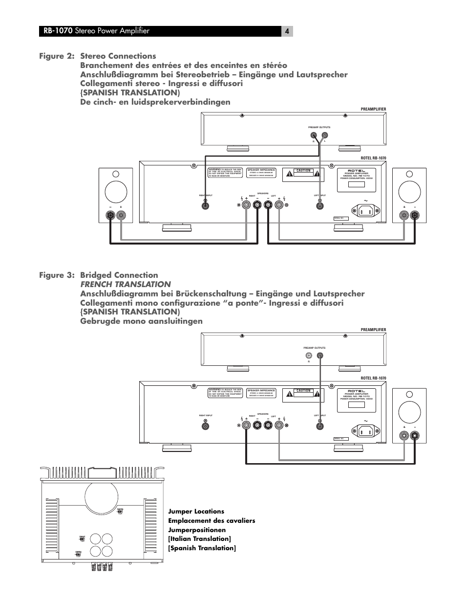 Rb-1070 stereo power amplifier   ROTEL RB-1070 User Manual   Page 4 / 36