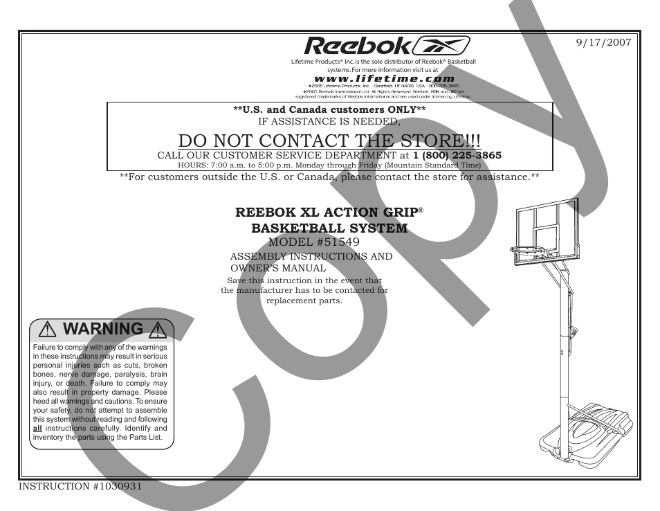 Reebok 51549 User Manual 15 Pages