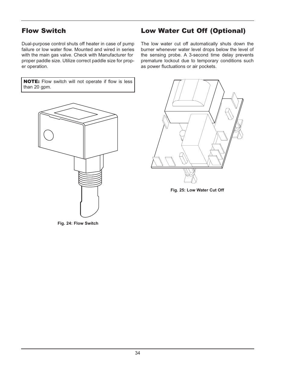 Low water cut off (optional), Flow switch | Raypak HI DELTA 122-322 User  Manual | Page 34 / 44