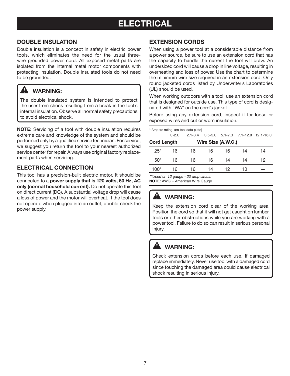 Electrical | Ryobi AG452 User Manual | Page 7 / 16