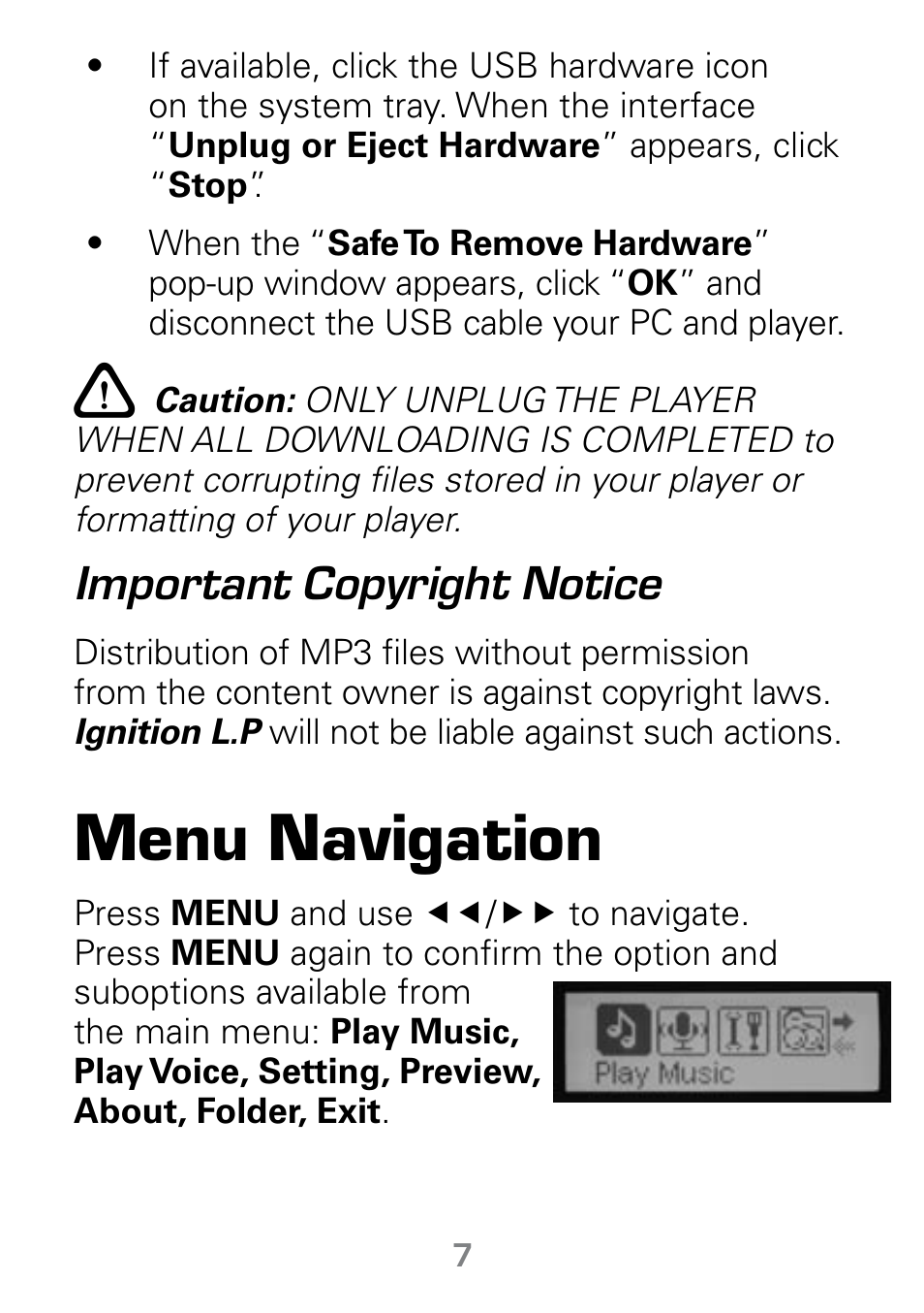 Notice Of Copyright Importance | Menu Navigation Important Copyright Notice Radio Shack Gigaware