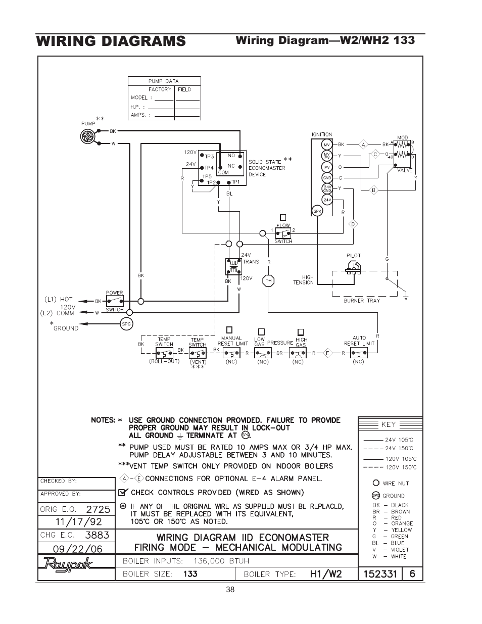 Wiring diagrams, Wiring diagram—wh1 0181/0261 | Raypak 1334001 User Manual  | Page 38 / 52