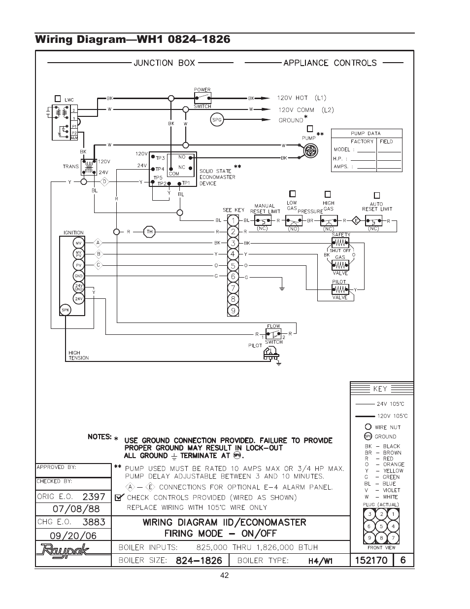 Wiring diagram—wh1 21, Wiring diagram—wh1 2100–2500 | Raypak 1334001 User  Manual | Page 42 / 52