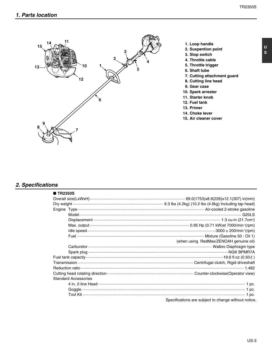 redmax tr2350s page5 parts location, specifications redmax tr2350s user manual page 5