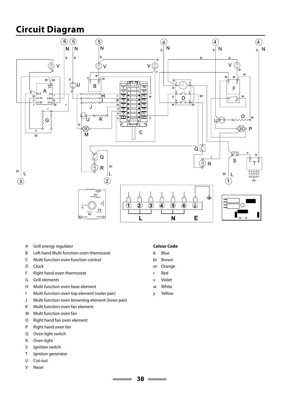 Circuit diagram | Rangemaster 110 DUAL FUEL U109600-02 User Manual | Page  38 / 40