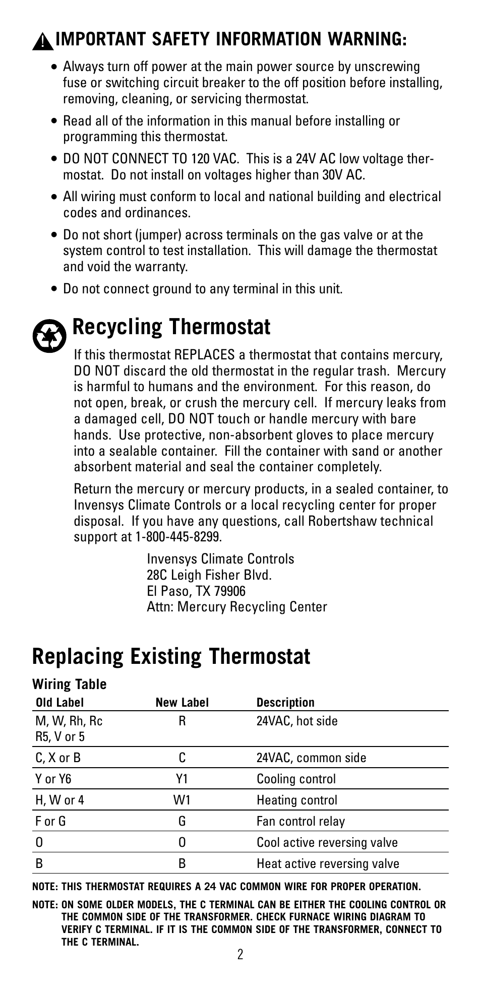 Recycling Thermostat  Replacing Existing Thermostat  Important Safety Information Warning