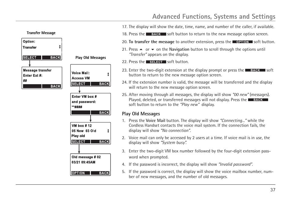 advanced functions systems and settings rca visys h5450 user rh manualsdir com rca visys telephone user manual rca visys telephone user manual