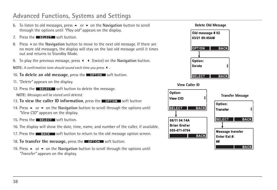 advanced functions systems and settings rca visys h5450 user rh manualsdir com rca visys manual 6.0 rca visys 6.0 phone manual