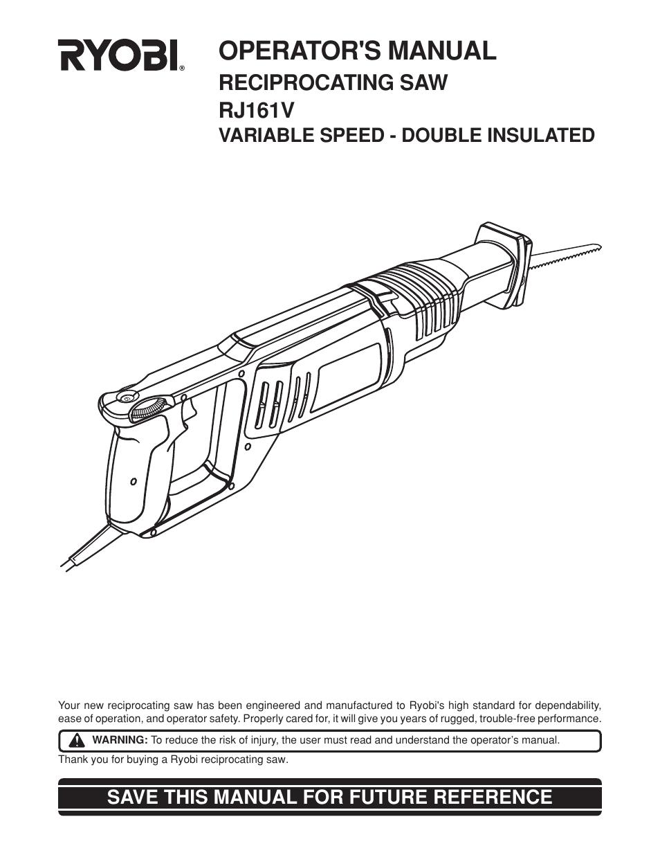 ryobi reciprocating saw manual