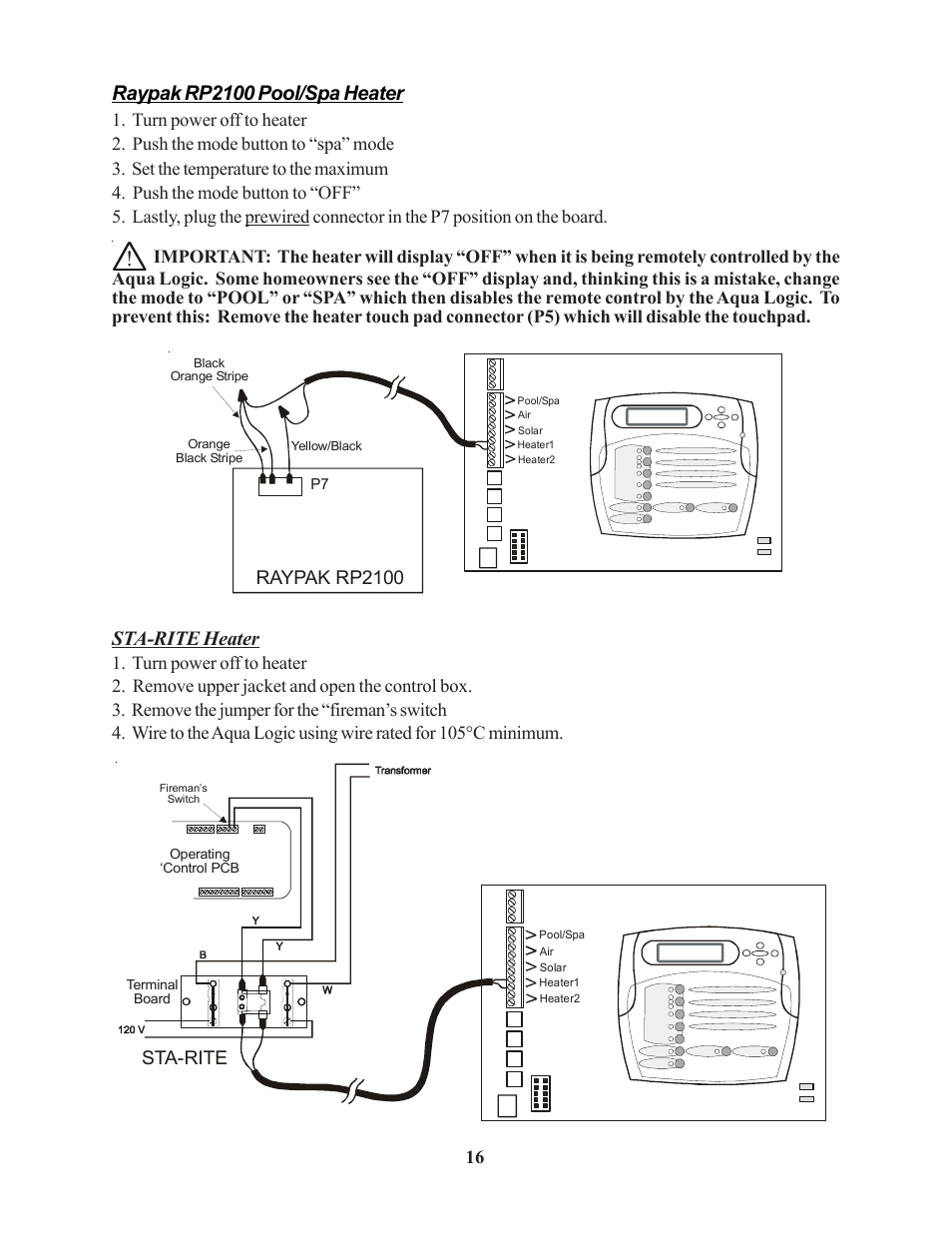 Raypak rp2100 pool/spa heater, Sta-rite heater, Raypak rp2100 | Raypak PS-4  PS-8 User Manual | Page 19 / 32