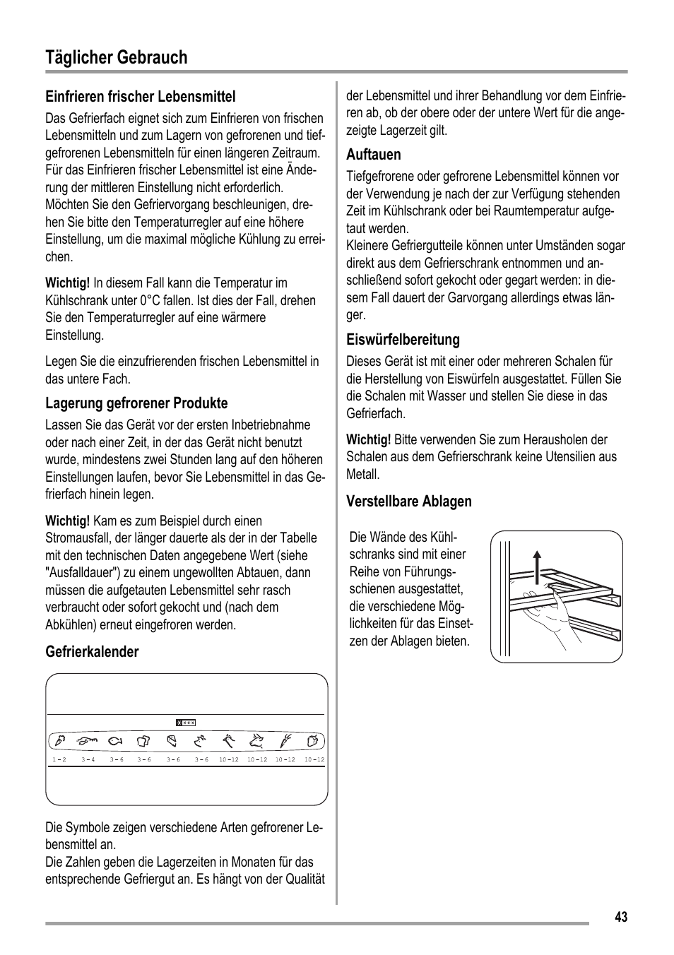 Täglicher gebrauch | ZANKER KBB 24001 SK User Manual | Page 43 / 56