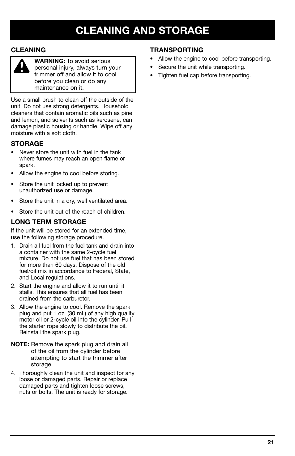 Cleaning and storage | Ryobi 766r User Manual | Page 21 / 26