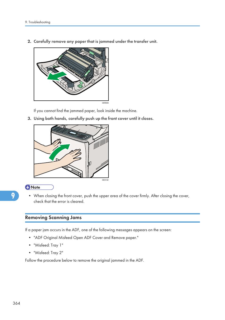 Removing scanning jams, 364