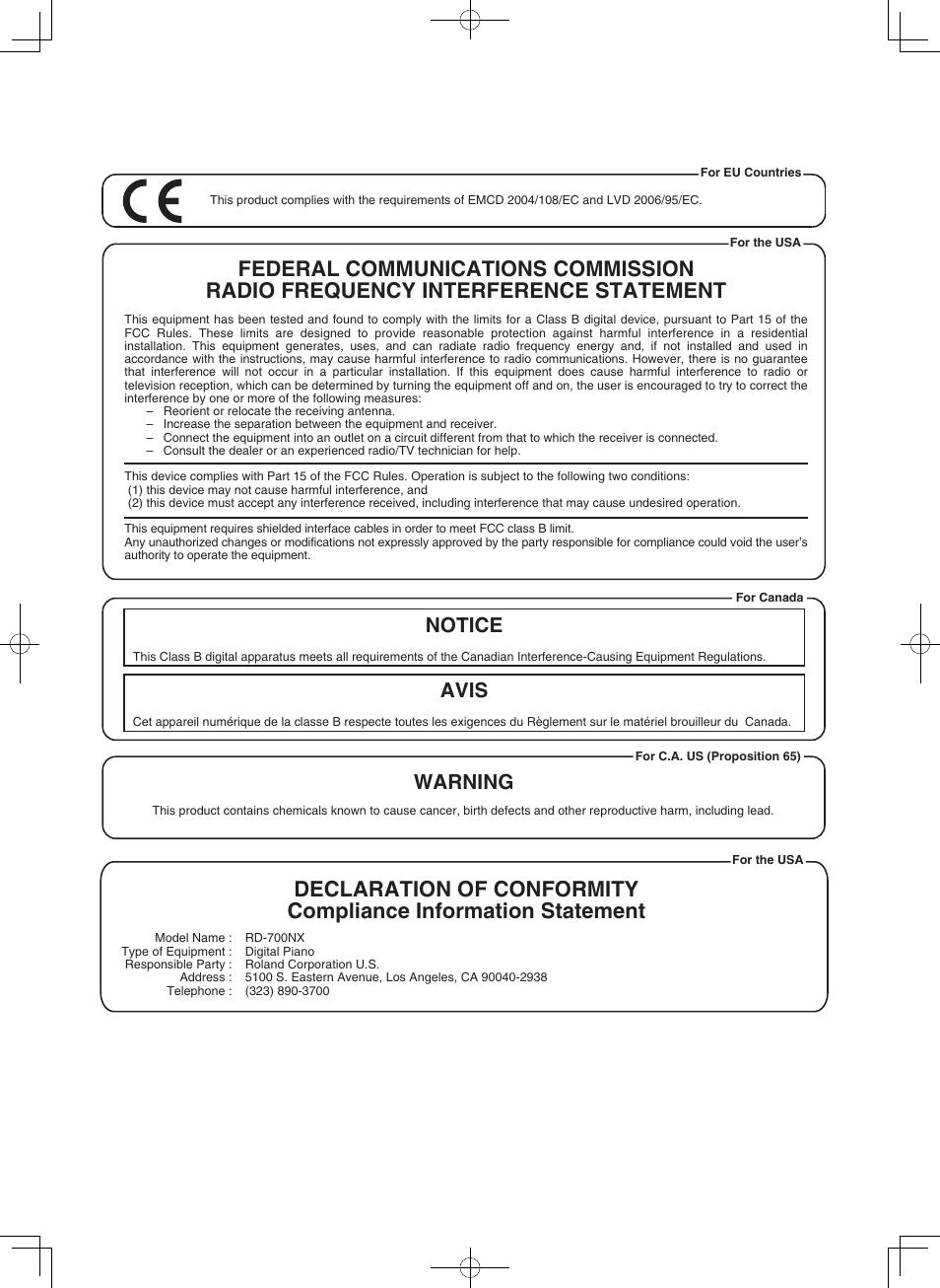 notice avis warning roland rd 700nx user manual page 103 106 rh manualsdir com Instruction Manual Instruction Manual
