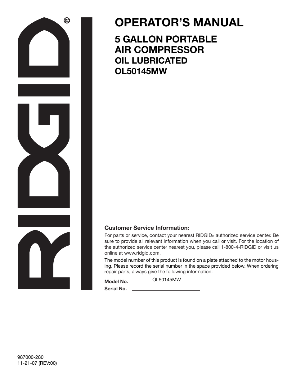 operator s manual 5 gallon portable air compressor ridgid rh manualsdir com Example User Guide Kindle Fire User Guide