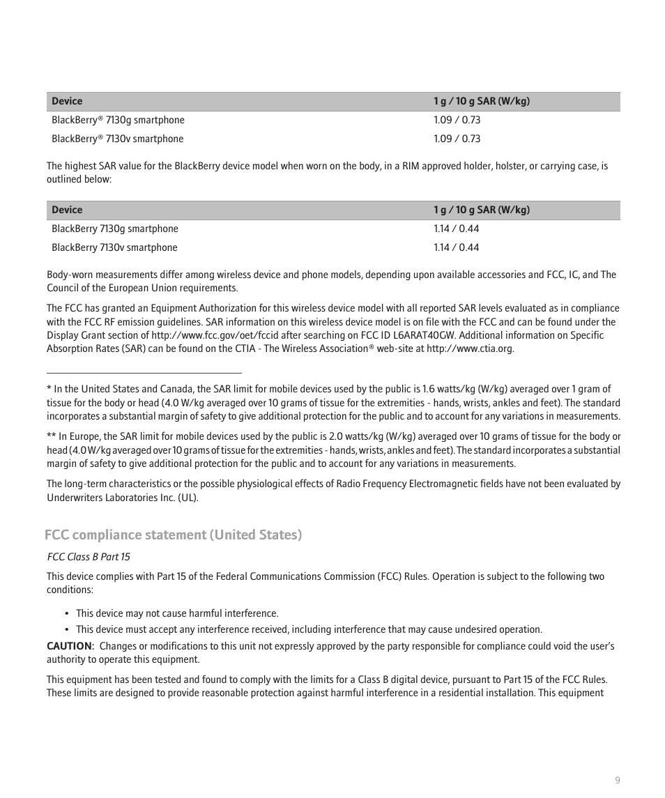 Fcc compliance statement (united states) | Blackberry 7130v User