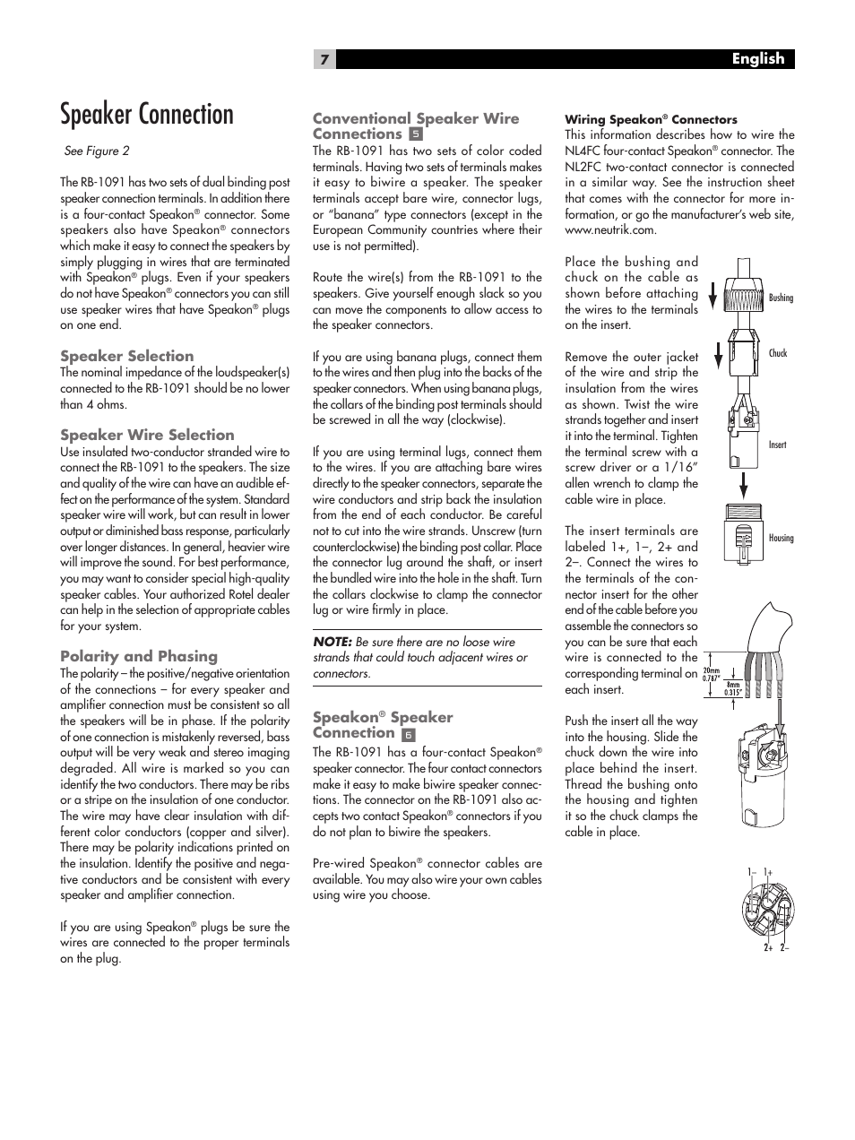 Speaker connection   ROTEL RB-1091 User Manual   Page 7 / 10