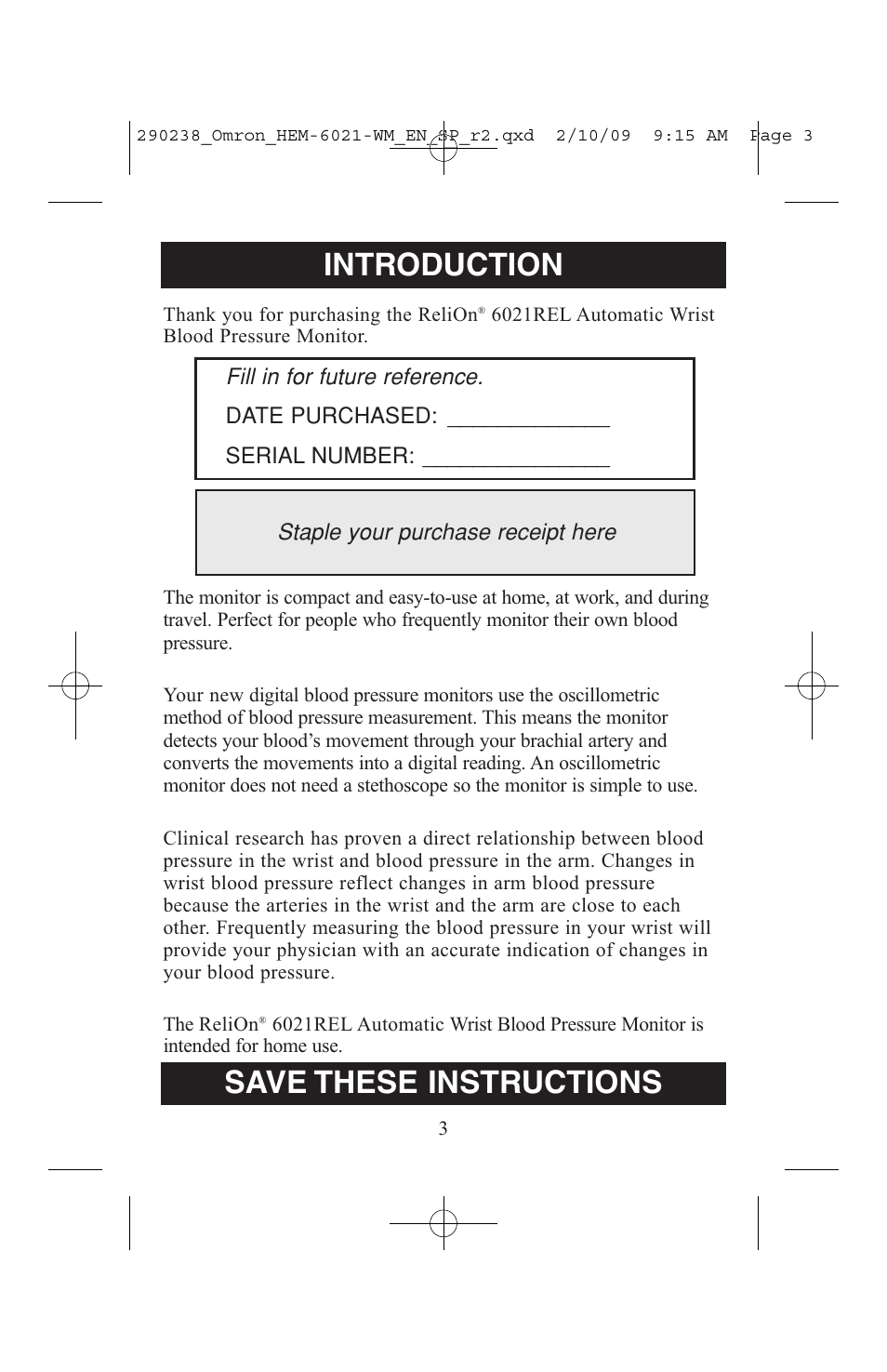 Introduction Save These Instructions Before Using The Monitor
