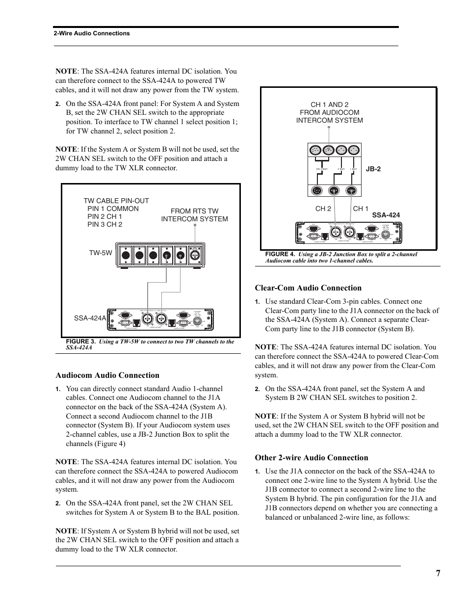 Audiocom audio connection, Clear-com audio connection, Other 2-wire ...