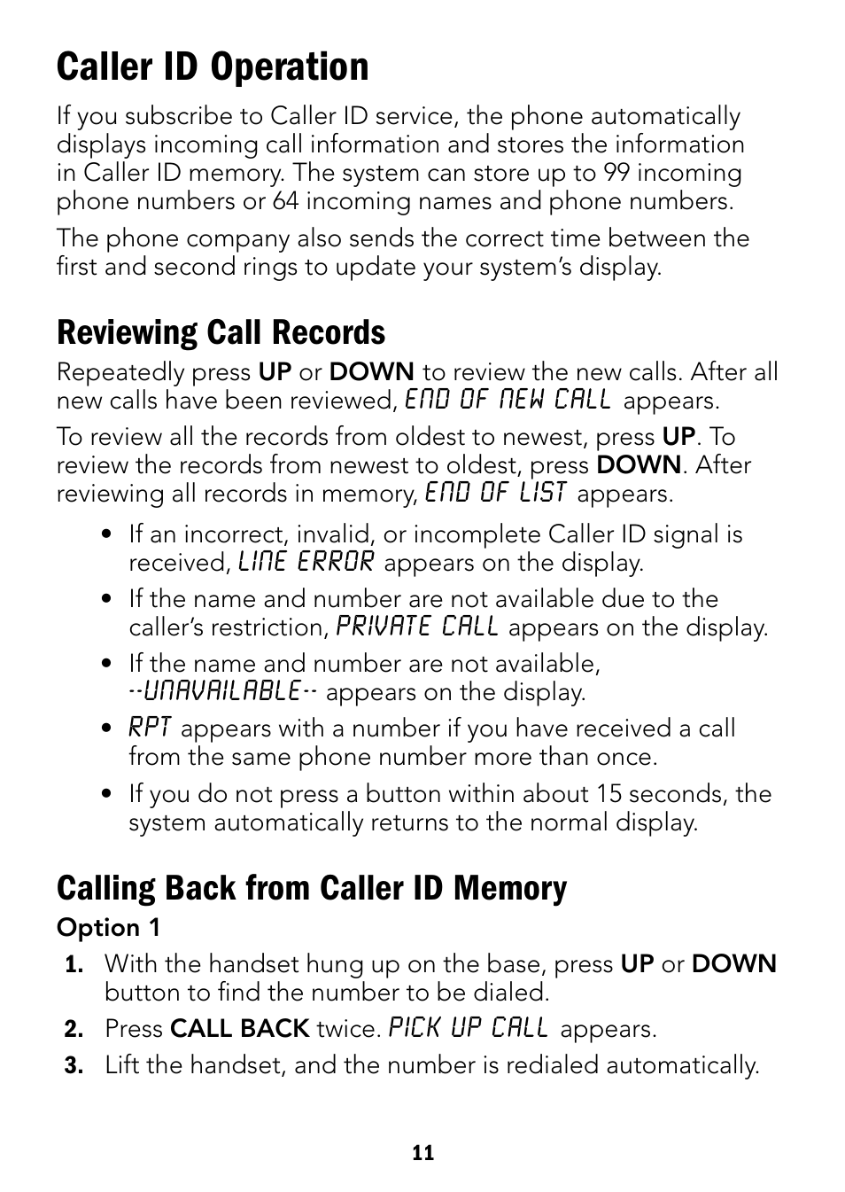 caller id operation reviewing call records radio shack 43 3901 rh manualsdir com
