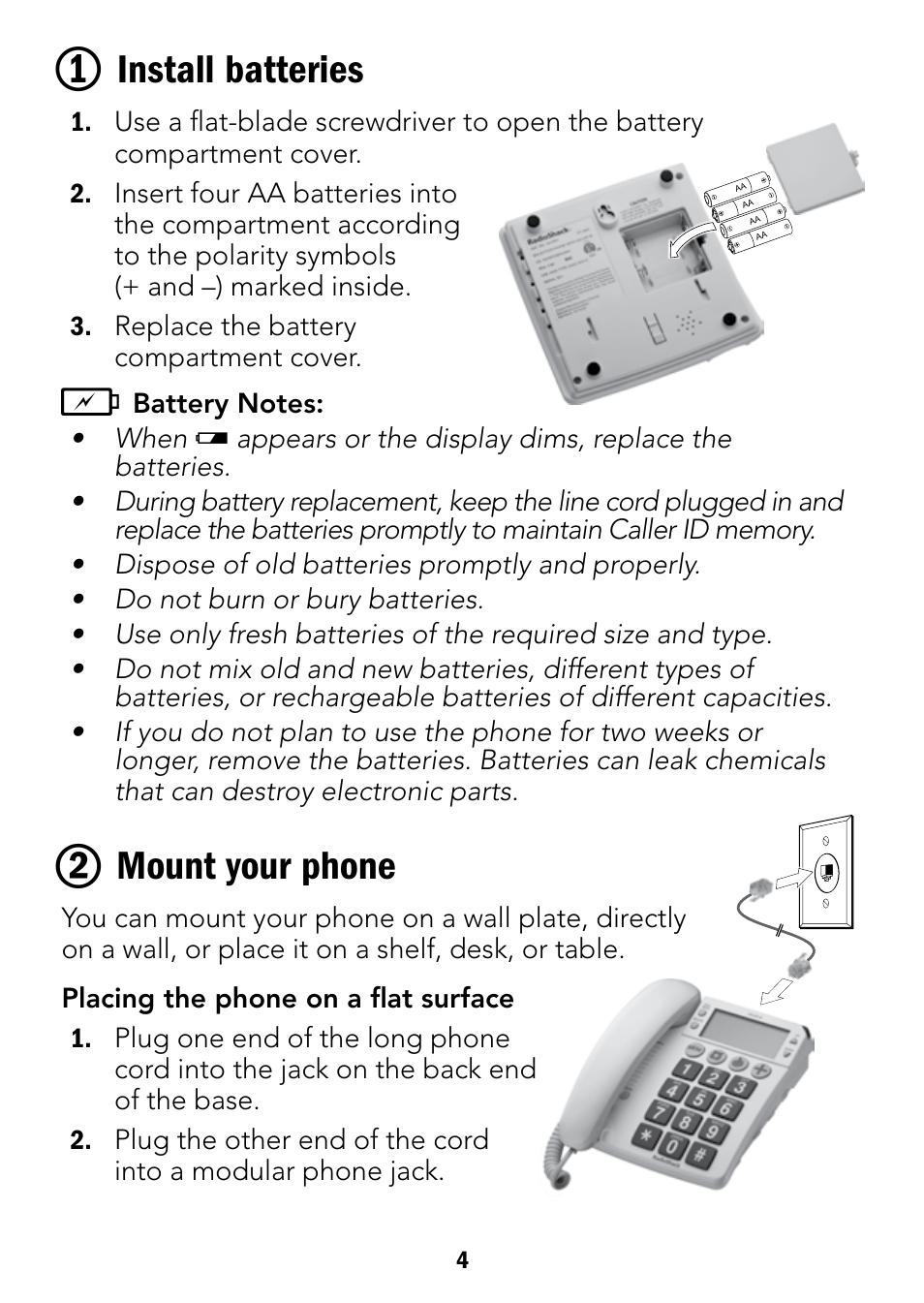 install batteries mount your phone radio shack 43 3901 user rh manualsdir com