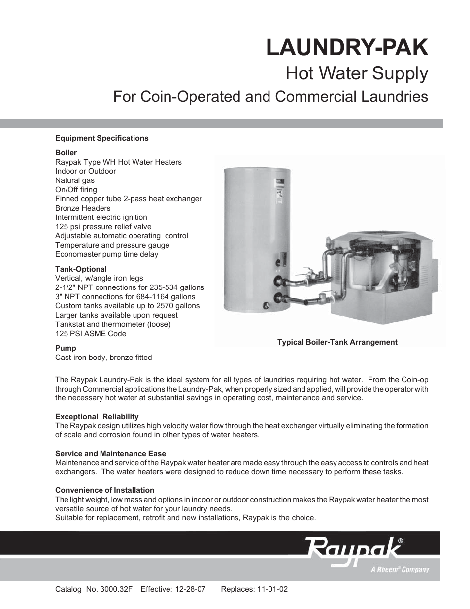 Raypak Hot Water Supply LAUNDRY-PAK User Manual | 2 pages