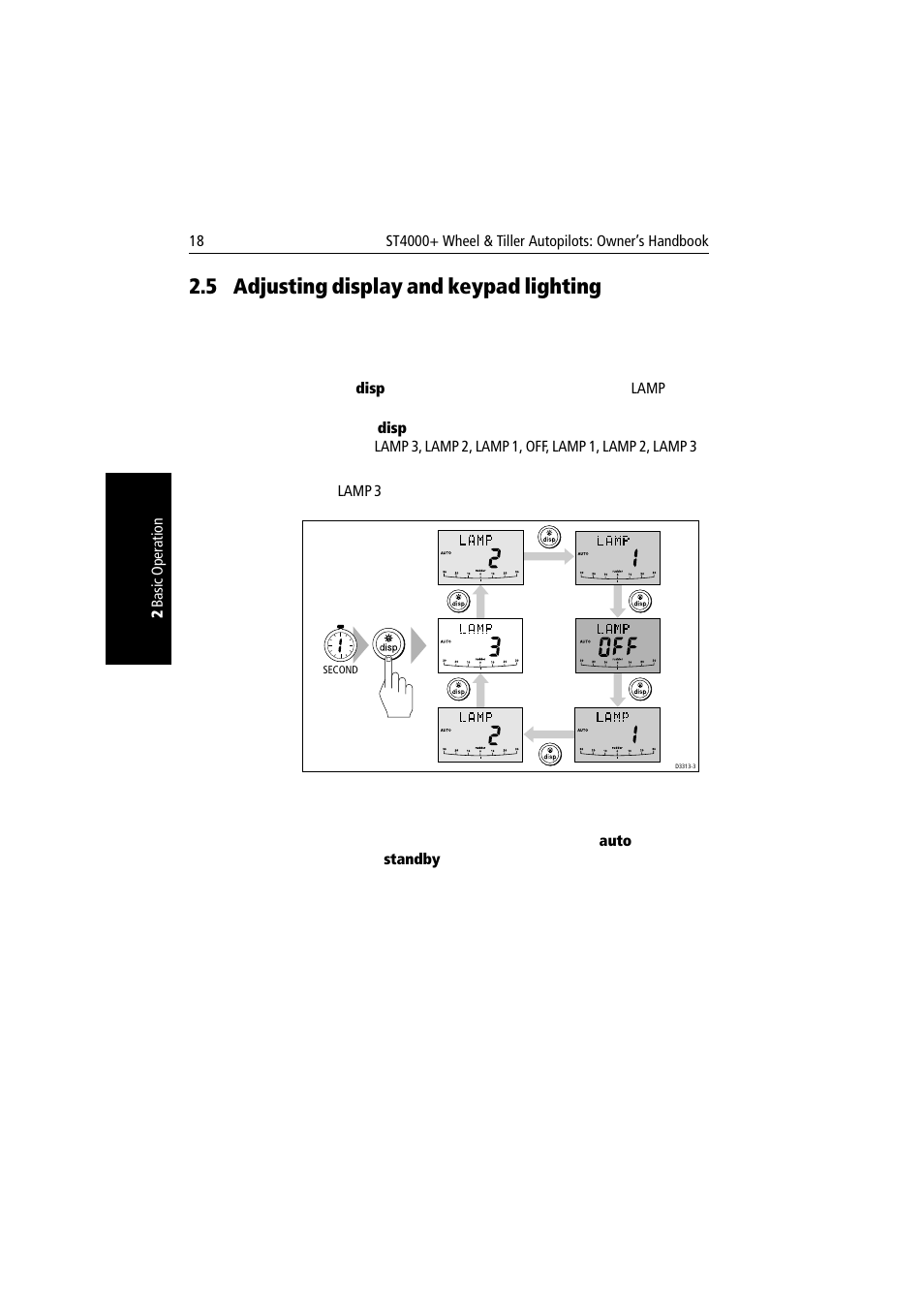 5 adjusting display and keypad lighting, Adjusting display