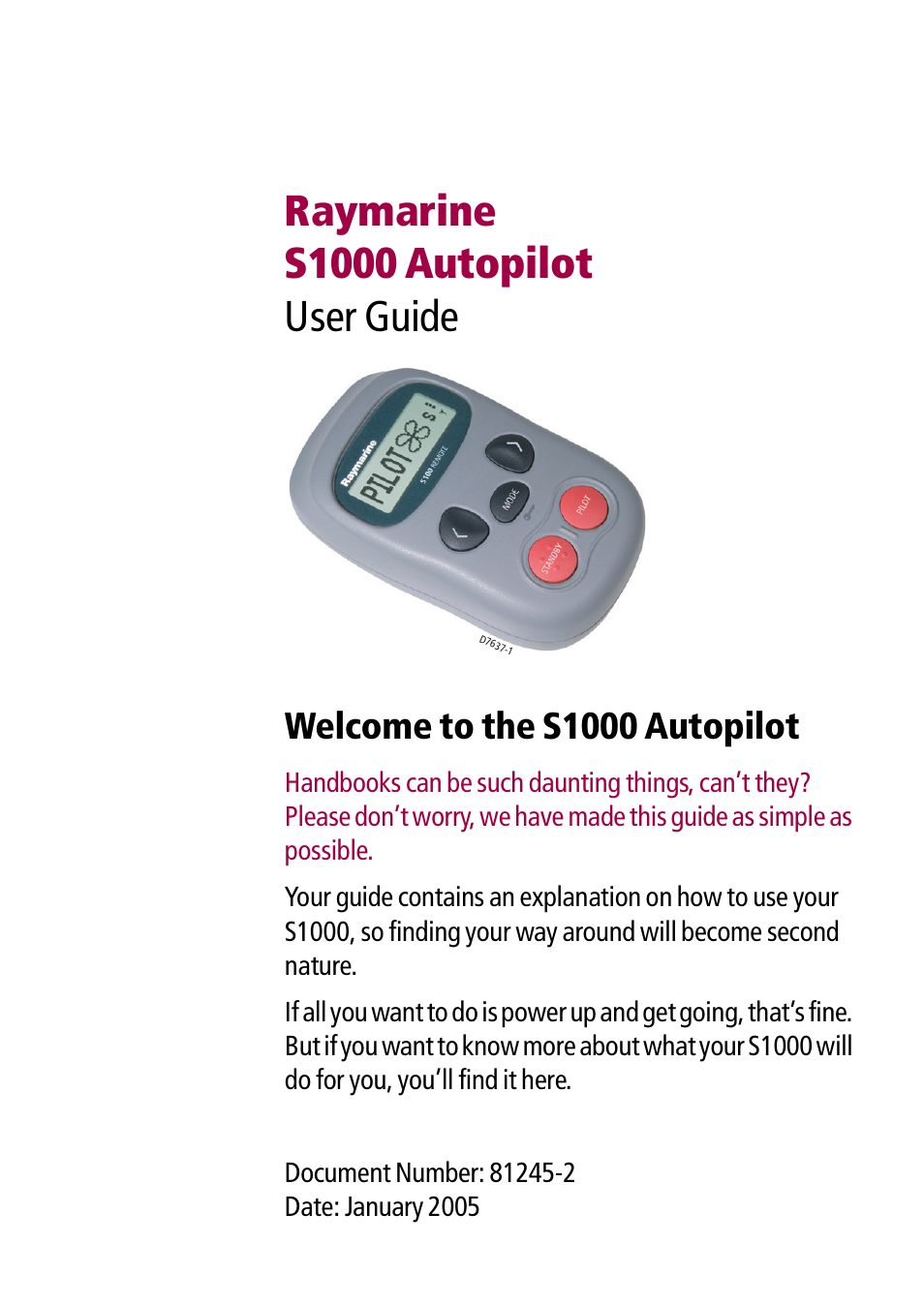 raymarine autopilot s1000 user manual 40 pages rh manualsdir com Raymarine Radar raymarine c80 user guide
