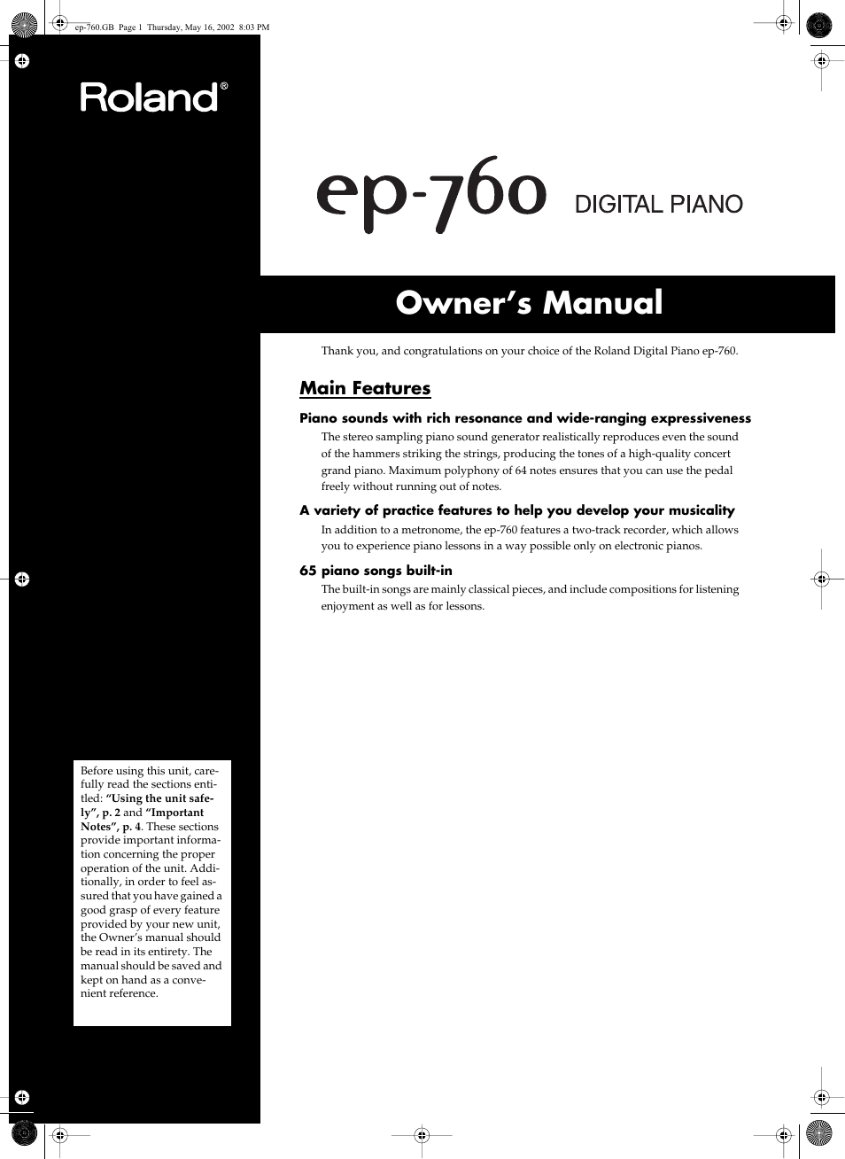 Roland EP-760 User Manual | 34 pages