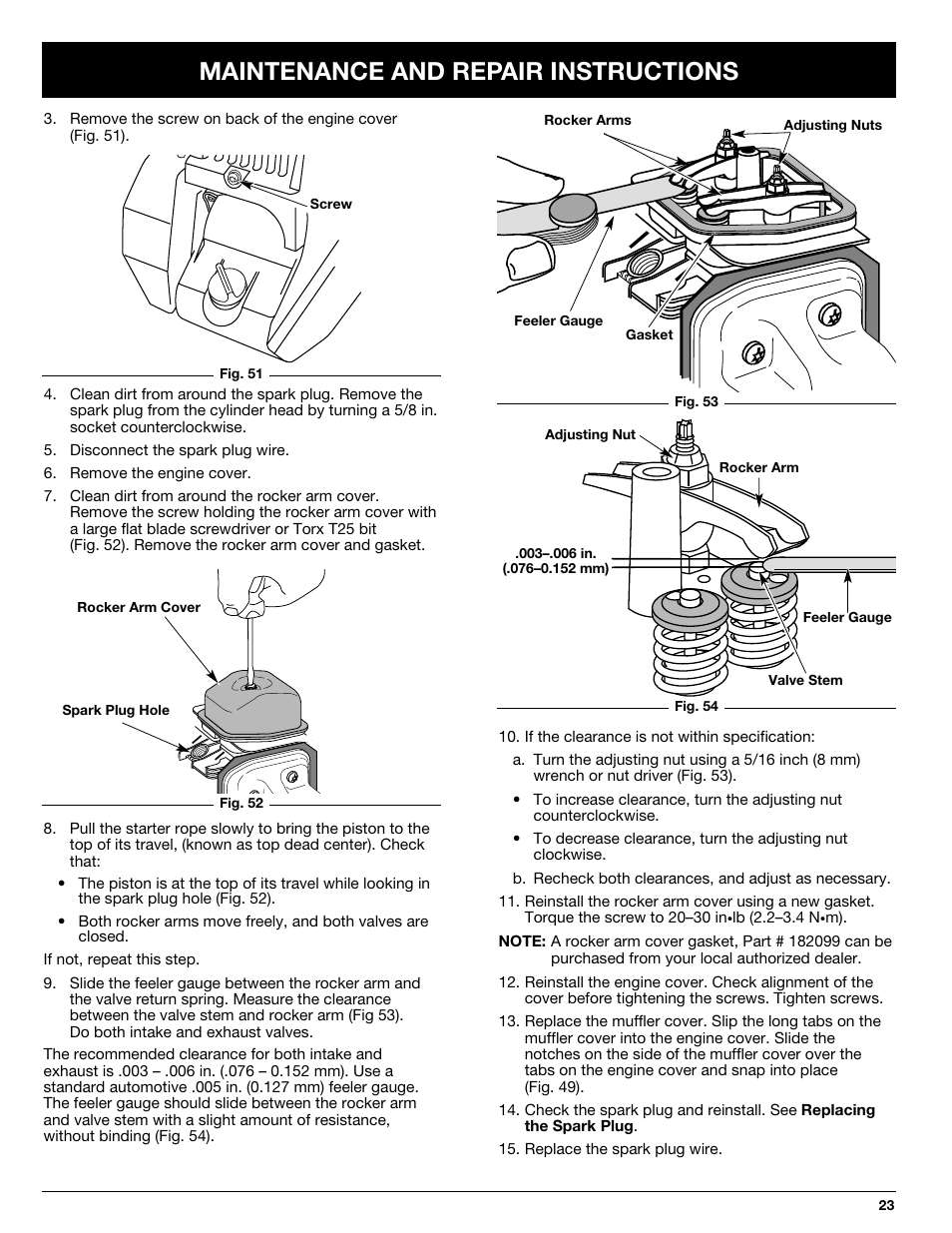 Maintenance And Repair Instructions