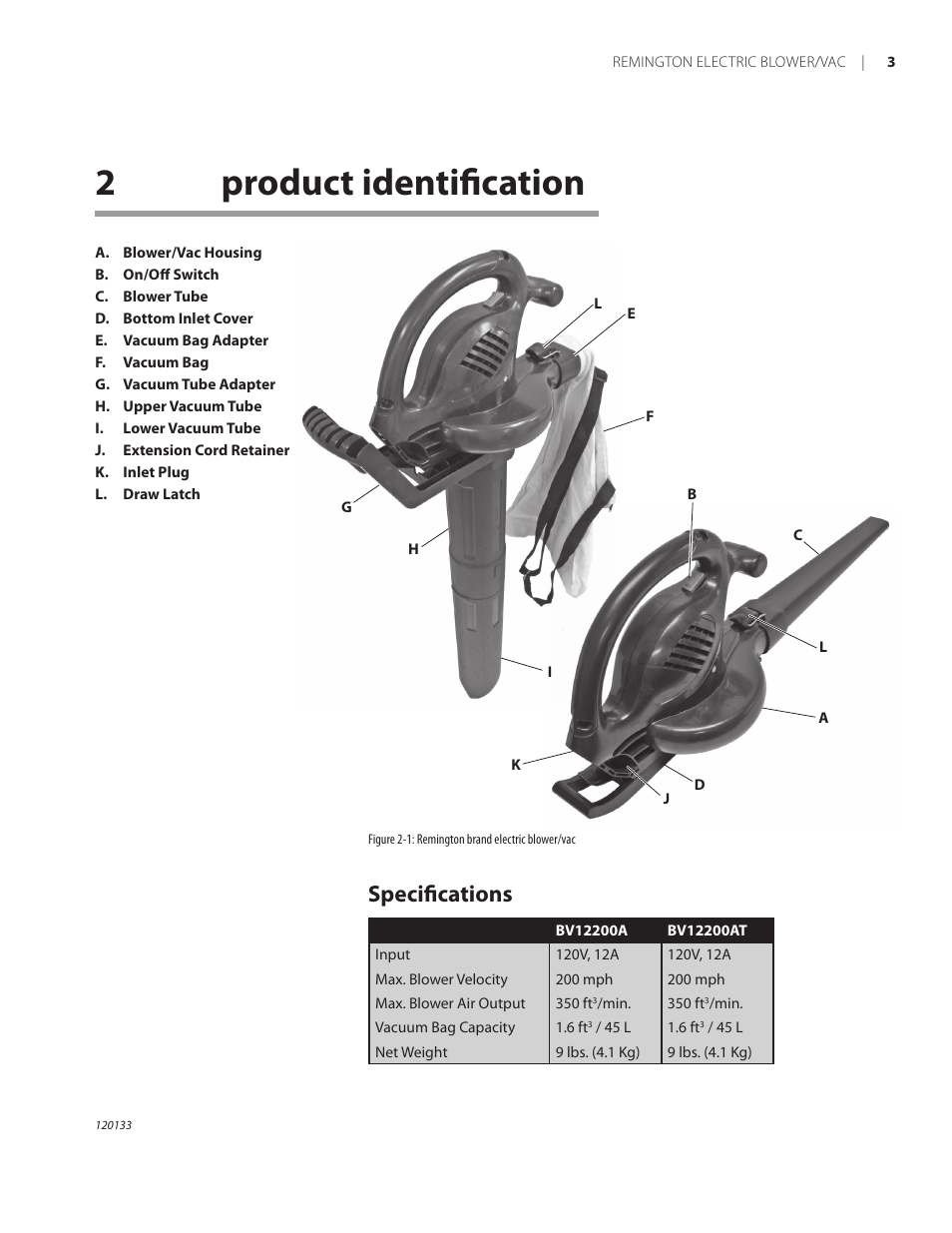 2product identification, Specifications   Remington BV12200A User