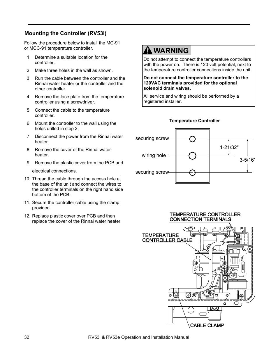 Rinnai Controller Wiring Diagram Trusted Schematics Warning Temperature Installation Rv53i User Ge Diagrams