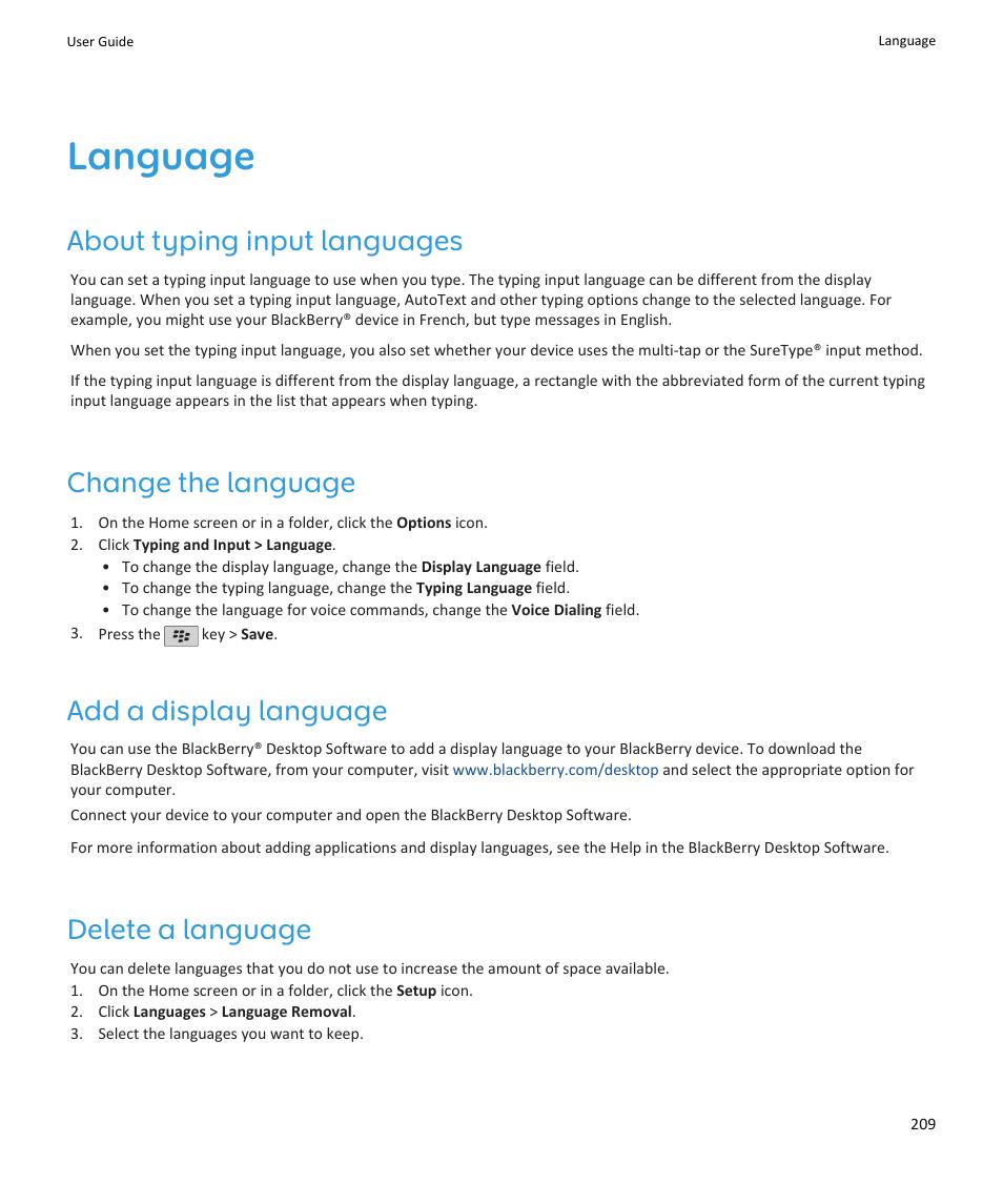 Language, About typing input languages, Change the language