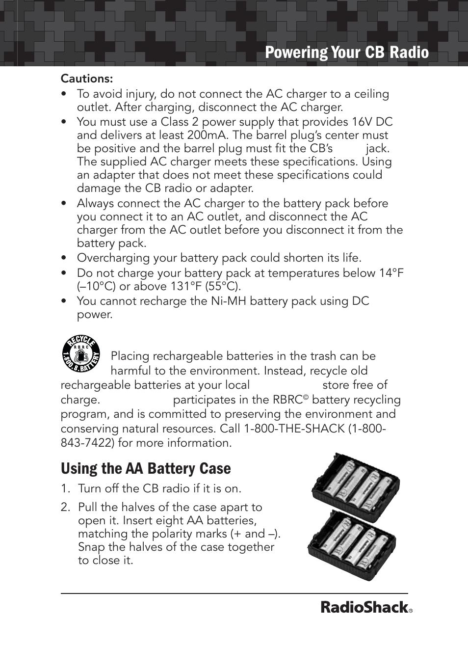 powering your cb radio using the aa battery case radio shack 21 rh manualsdir com Radio Shack Closing Radio Shack Products