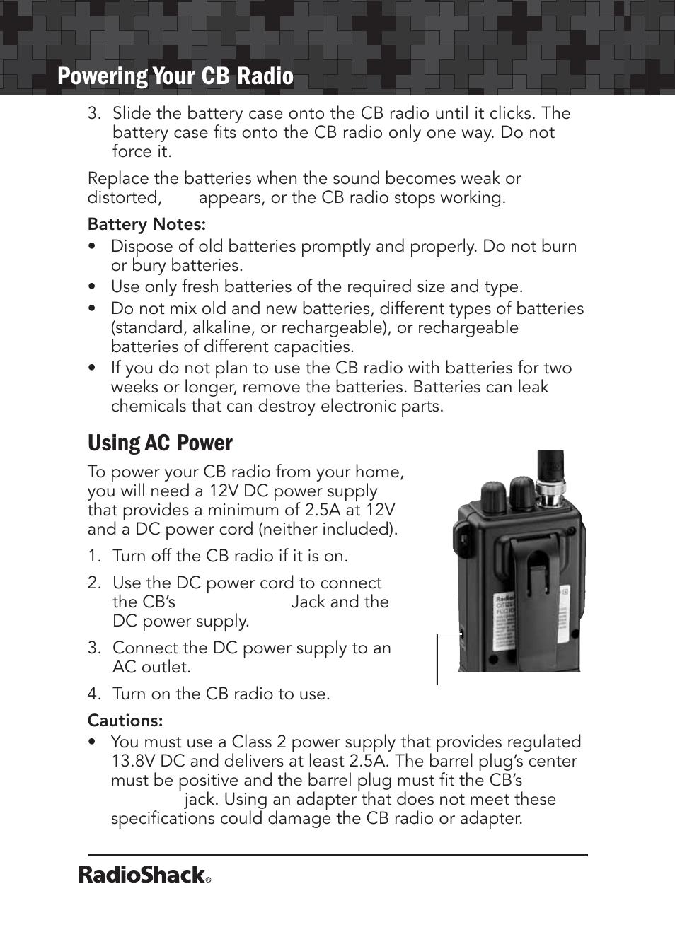 powering your cb radio using ac power radio shack 21 1679 user rh manualsdir com Radio Shack Products Radio Shack Stores