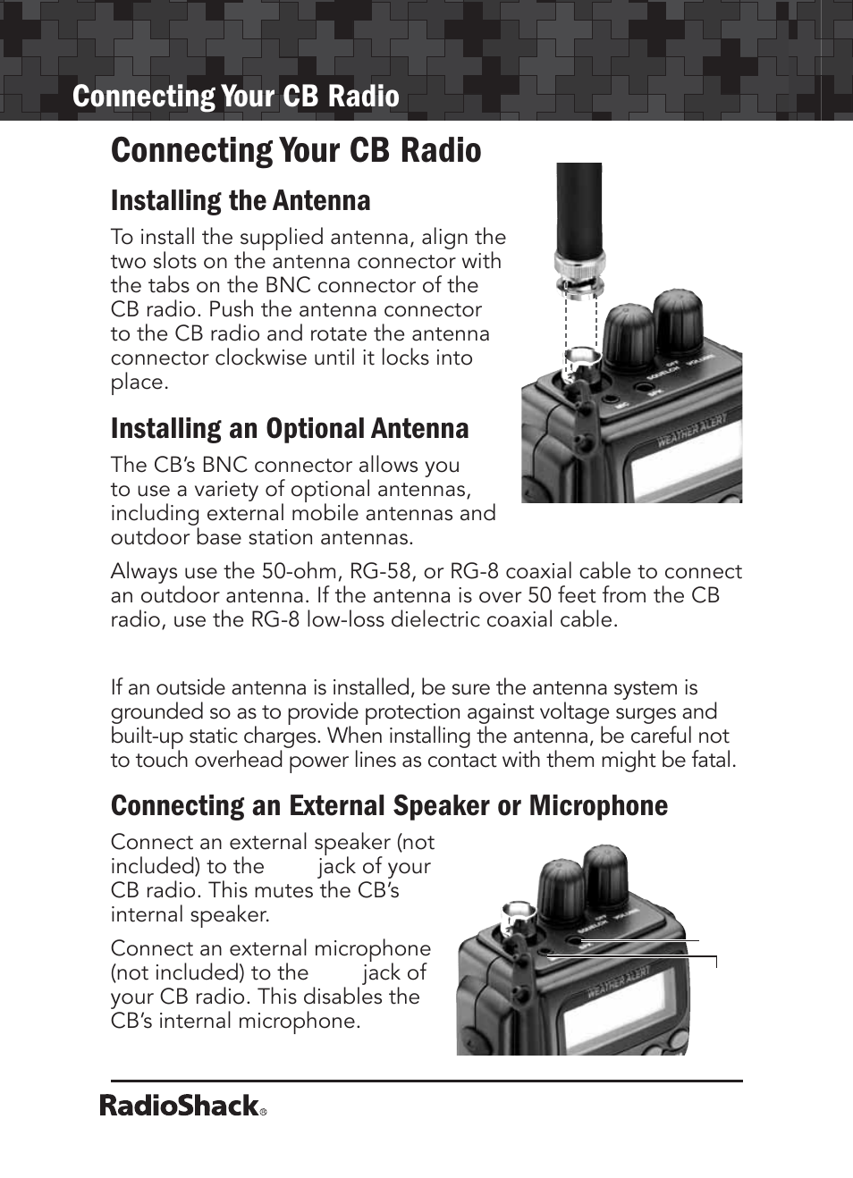 connecting your cb radio installing the antenna installing an rh manualsdir com Radio Shack Products Radio Shack Products