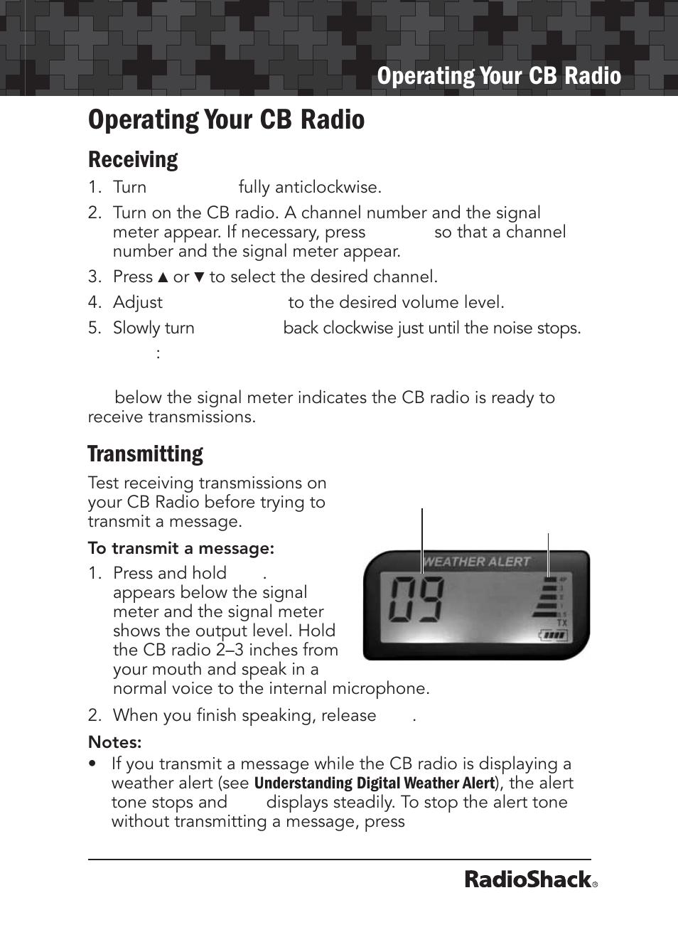 operating your cb radio receiving transmitting radio shack 21 rh manualsdir com Radio Shack Stores Radio Shack Catalog